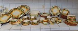 EHT008 Mid Century Vernonware Homespun Dinnerware Set