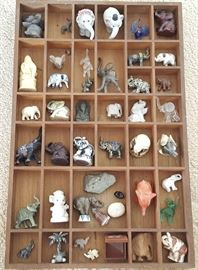EHT072 Wood Shadow Box of a Parade of Miniature Elephants