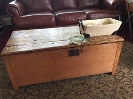 Antique Primitive Pine box here used as a coffee table