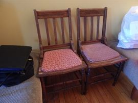 Pair of old chairs belong to the antique kitchen set.