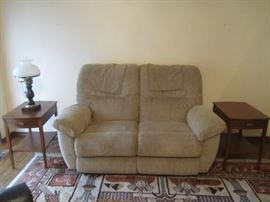 lazy boy double recliner and pair of side tables