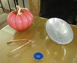 Large Art Glass Pumpkin by Cohn-Stone; Large Gold-Plated Wishbone by Lunares; a Nambe -Style Oval Bowl
