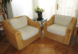 Oversized Pair of Wicker Club Chairs w/ Down Cushions