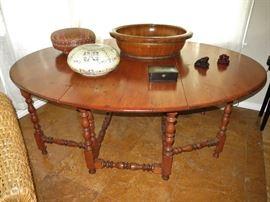 Large Vintage Oval Pine Gate-Leg Table; a Vintage Wood Foot Bath; Vintage Asian Lidded Rose Bowl