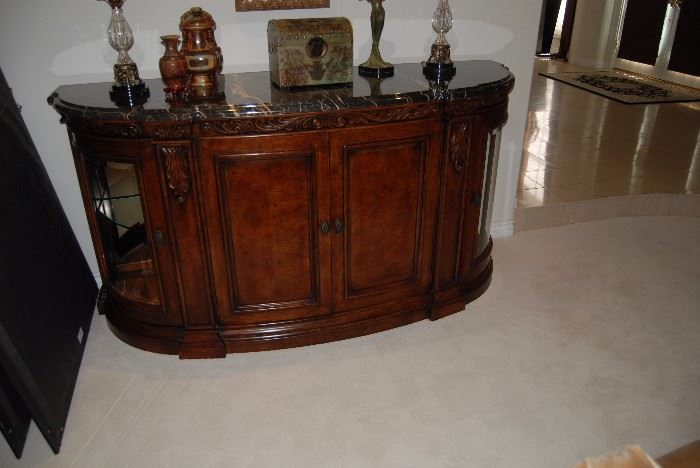 "Henredon Buffet with marble top - 83"" long by 25"" deep"