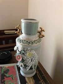 Chinese Republic Vase $65 -note damage to white Daisy - I have the piece that chipped off.