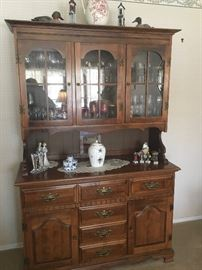 Pine display cabinet & table with chairs