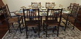 Ethan Allen dining table and chairs with rush seats and pad feet.  Stunning quality.