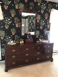 Baker Dresser and Mirror.  Chinese Chippendale