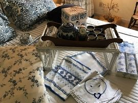 Lovely Blue and White Linens and accessories