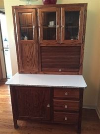 Amish made oak Hoosier like cabinet