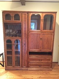 oak two piece storage units