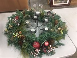 Lighted wreath with candle holder