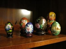 Cloisonné & Other Painted Eggs, Nesting Doll