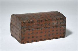 """Lot 1: 19th C. New England paint decorated pine document box with leather hinges, original paint, 10""""L. x 5.75""""H. Prov. Lifelong VT collection"""