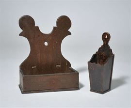 """Lot 9: Two 19th C. country wall boxes in old paint, double lollipop handles, 12""""H. with a pipe box, 9.5"""" H."""