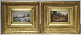 """Lot 6: Good pair of 19th C. American school oils on canvas, winter and summer scenes, 5.25"""" x 7"""" in period gilt frames"""