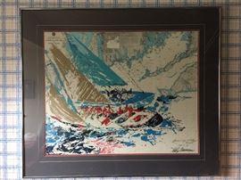 "Original Leroy Neiman ""America's Cup"" 19th Challenge Newport Sailing Plate serigraph"