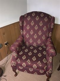 BURGUNDY UPHOLSTERED WINGBACK CHAIR