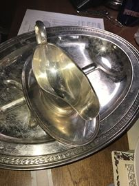 SILVER-PLATED GRAVY BOWL AND PLATTERS
