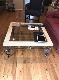 METAL, STONE AND GLASS COFFEE TABLE