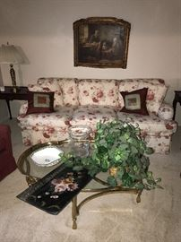 FLORAL SOFA, COFFEE TABLE AND SIDE TABLES