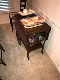 WOODEN TEA CART AND LOTS OF SERVING PLATTERS