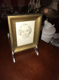 FRAMED ETCHING OF A GIRL