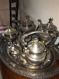 SILVER-PLATED TEA SET