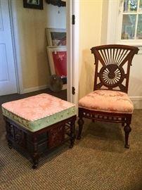 Karpen Furniture Company mahogany parlor chair and ottoman