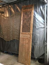 Hand carved intaglio oriental door panel