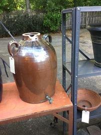 Antique glazed ceramic jug 22-inches high