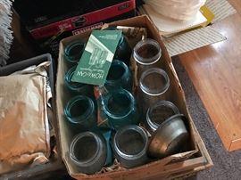 Blue jars, vintage soda bottles, vintage liquor bottles