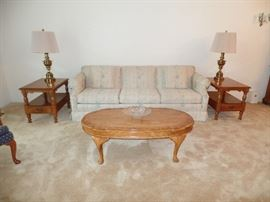 couch, matching Thomasville side tables, matching Stiffel brass lamps and coffee table