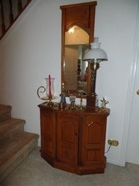 Hall cabinet and mirror, brass candle sticks and lamp