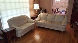 Leather sofa and love seat.