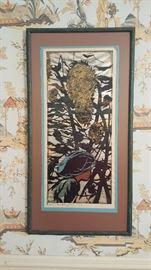 """1956 Tadashi Nakayama Wood block Print """"Girl in Sunflower Dress"""""""
