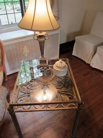 PAIR OF GOLDTONE METAL AND GLASS TABLES