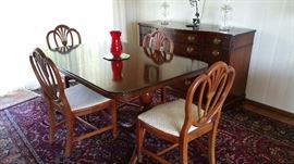 traditional mahogany dining set - table and 4 chairs with leaves and pads