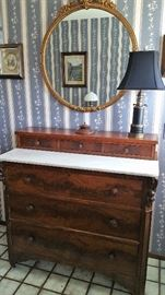 burl front antique chest with marble top