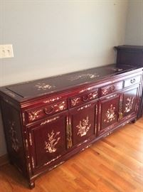 Amazing Chinese Rosewood Buffet with Mother of Pearl Inlaid Design