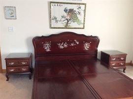 Chinese Rosewood Bedroom Set(King),2 end tables, Chest, Dresser and Mirror with Mother of Pearl Inland design