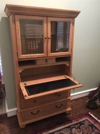 Nice Century furniture secretary desk with lighted cabinet and drawers.