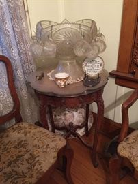Antique round accent table