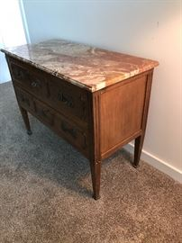 """Two drawer dresser with marble top. Bronze pulls and escutcheons with keys. Made in Italy for Bloomingdales. Purchased in 60's in NYC. 42"""" X 19"""". 32"""" high. In good shape. $400"""