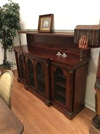 """Antique French Regency sideboard with gallery. Bronze metal accents. 72"""" long X 37"""". 52"""" to top of shelf. $750"""