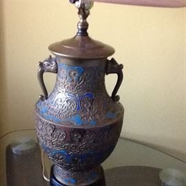 Cloisonné lamp. Very old. $50