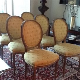 Six Louis XIV chairs with distressed painted wood. In good shape. $750