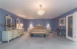 Beautiful White Furniture Co Bedroom Set, Half Moon Glass Table & More
