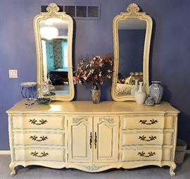 Excellent White Fine Furniture Co Dresser with His & Hers Mirrors
